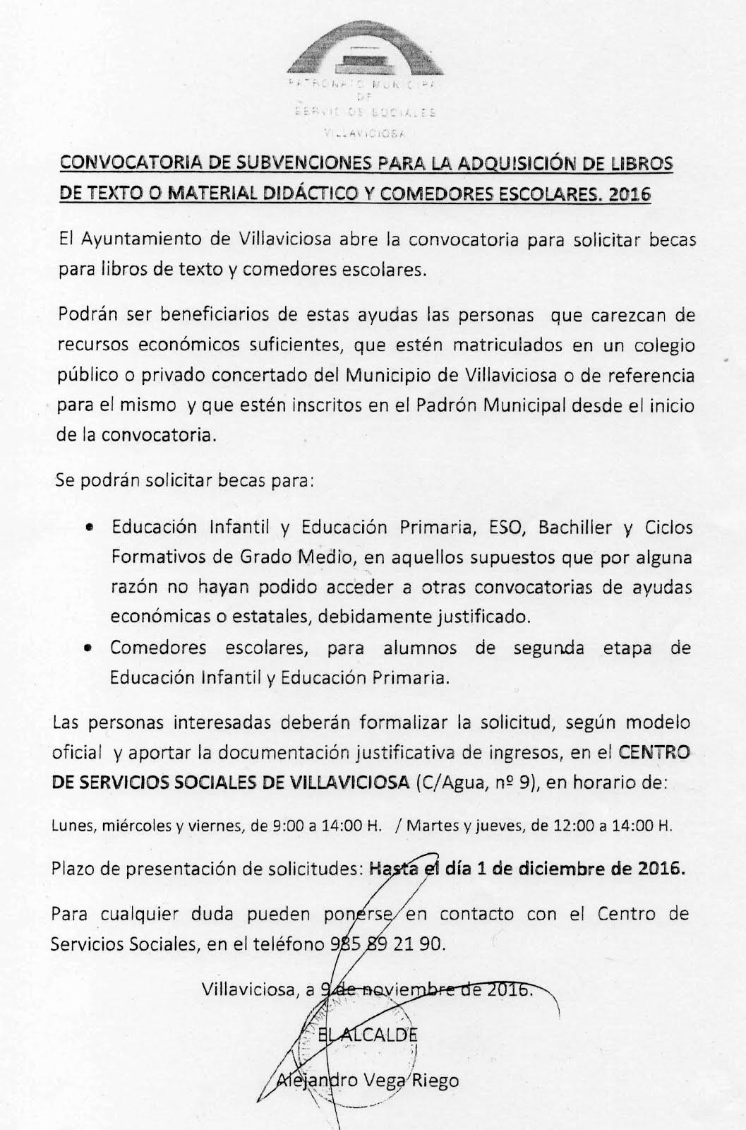 SUBVENCIONES MUNICIPALES APARA LIBROS DE TEXTO, MATERIAL DIDÁCTICO Y COMEDORES ESCOLARES