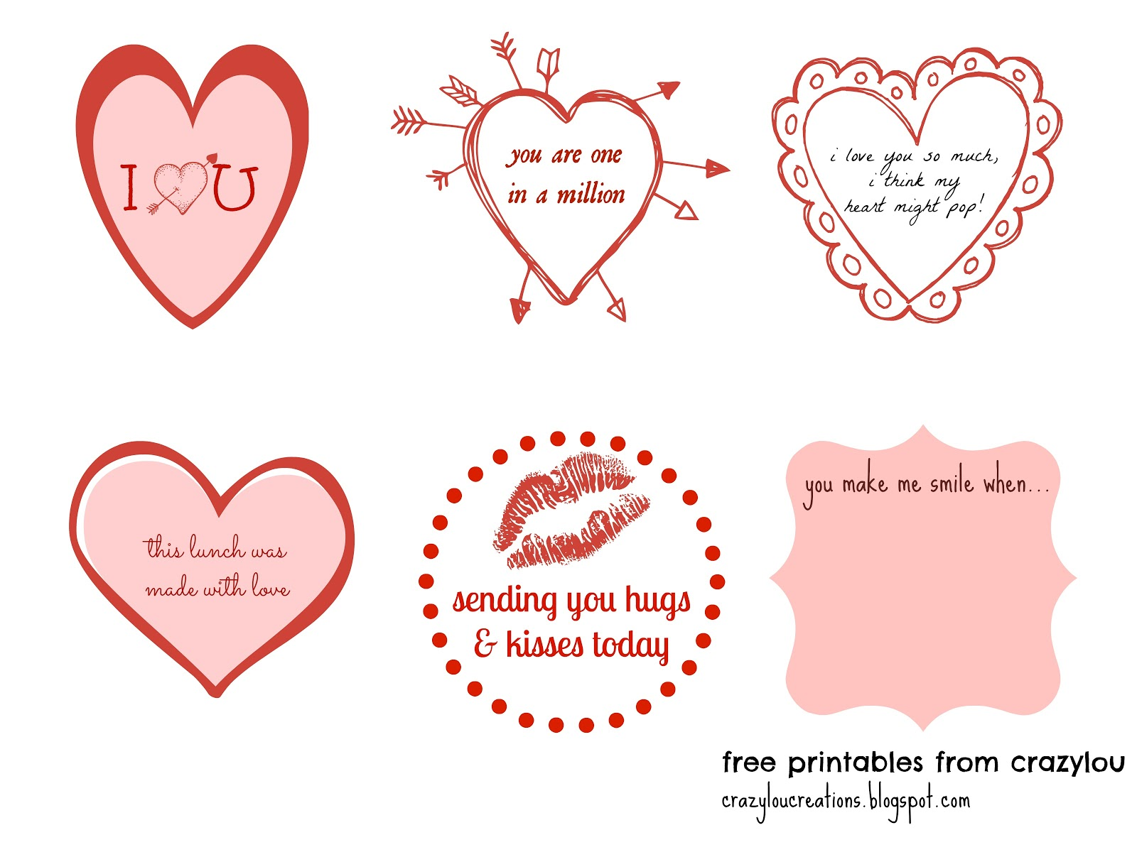crazylou love lunch notes free printable
