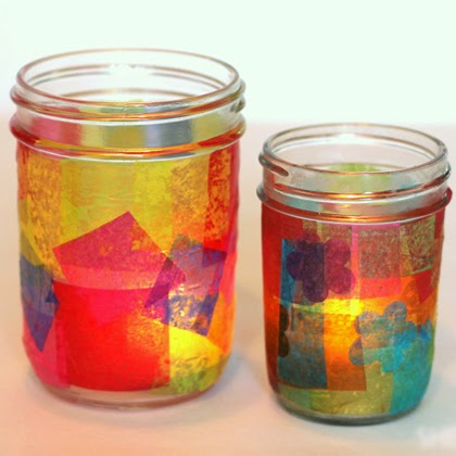 Mason Jar Stained glass candle holder