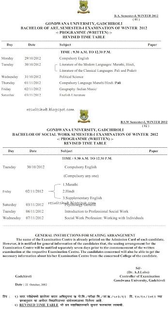 Gondwana University BSW Sem 1 Winter 2012 Exam New Timetable