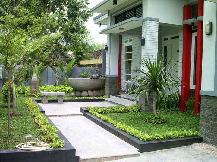 Design Terrace House Minimalist With Green Park