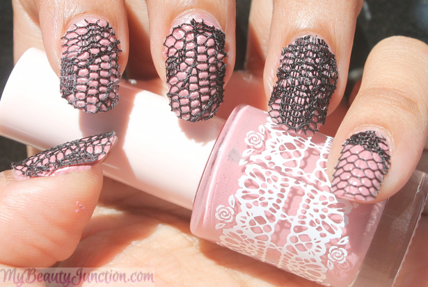 Valentine's Day Lace Nail Art with Etude House Rose Flowering Nails manicure kit