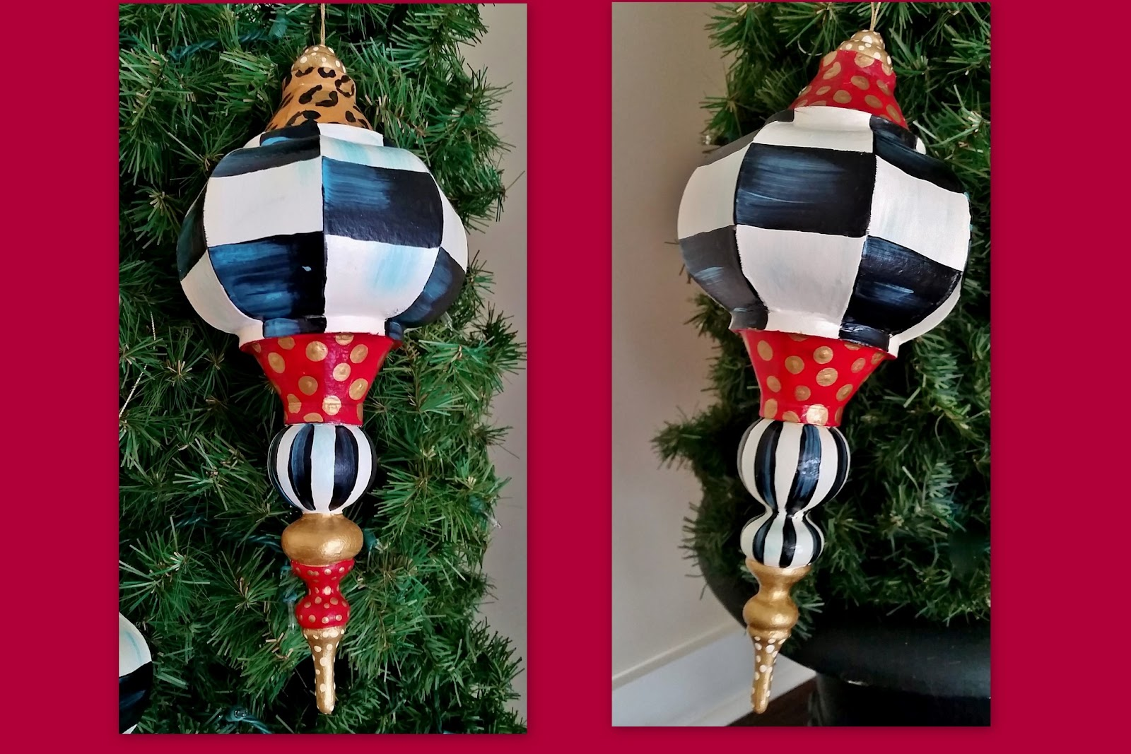 Large white christmas ornaments - Black And White Check Hand Painted Christmas Ornaments