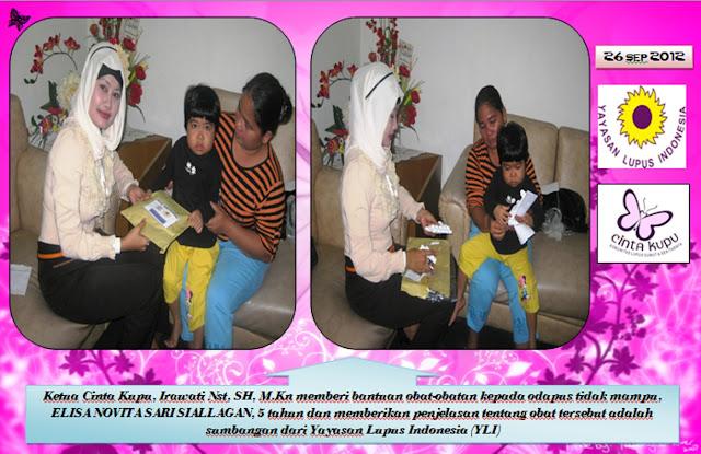 Pada tanggal 26 September, Cinta Kupu bekerja sama dengan YLI (Yayasan Lupus Indonesia) yang dipimpin oleh Ibu Tiara Savitri untuk memberikan bantuan berupa obat-obat gratis kepada odapus Elisa Novita yang umurnya 5 tahun. Pemberian bingkisan obat-obatan itu dilakukan oleh ketua Cinta Kupu, Irawati Nst, SH, M. Hum.