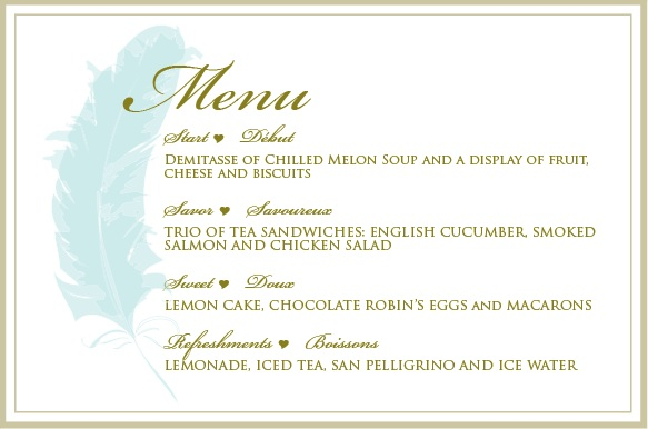 feather collection bridal shower menu