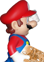 "Image: Mario looks sideways in astonishment, raising his cap with one hand, and holding a thick packet in the other –at the top of which is the map of Yoshi's Island, the first area in ""Super Mario World"". Caption:"