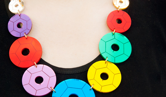 Tatty Devine, sequin necklace, colourful perspex
