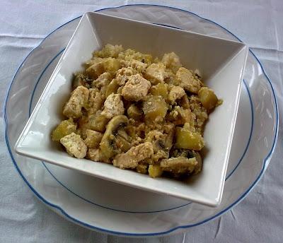 Revuelto de Quinoa con Tofu y Berenjena