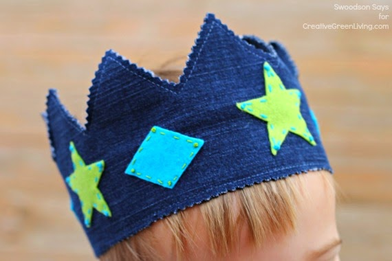 Upcycled denim play crown creative green living Upcycling for beginners