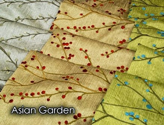Asian, garden, fabric