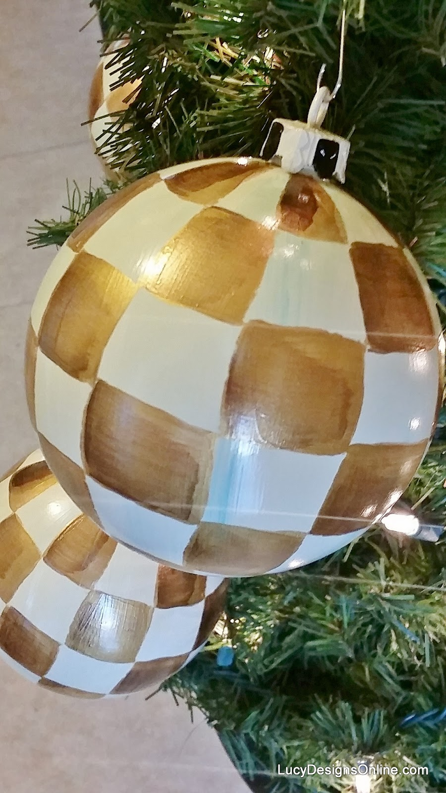 hand painted checked ornaments metallic gold with black and white cap