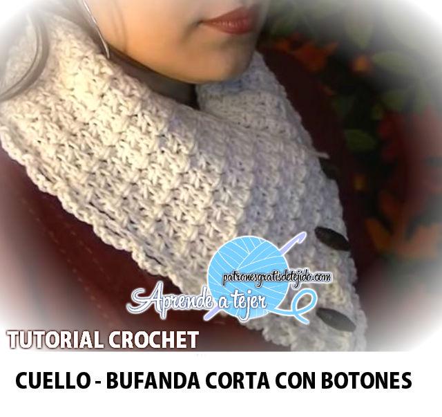 Aprende a tejer un cuello bufanda corta al crochet, paso a paso