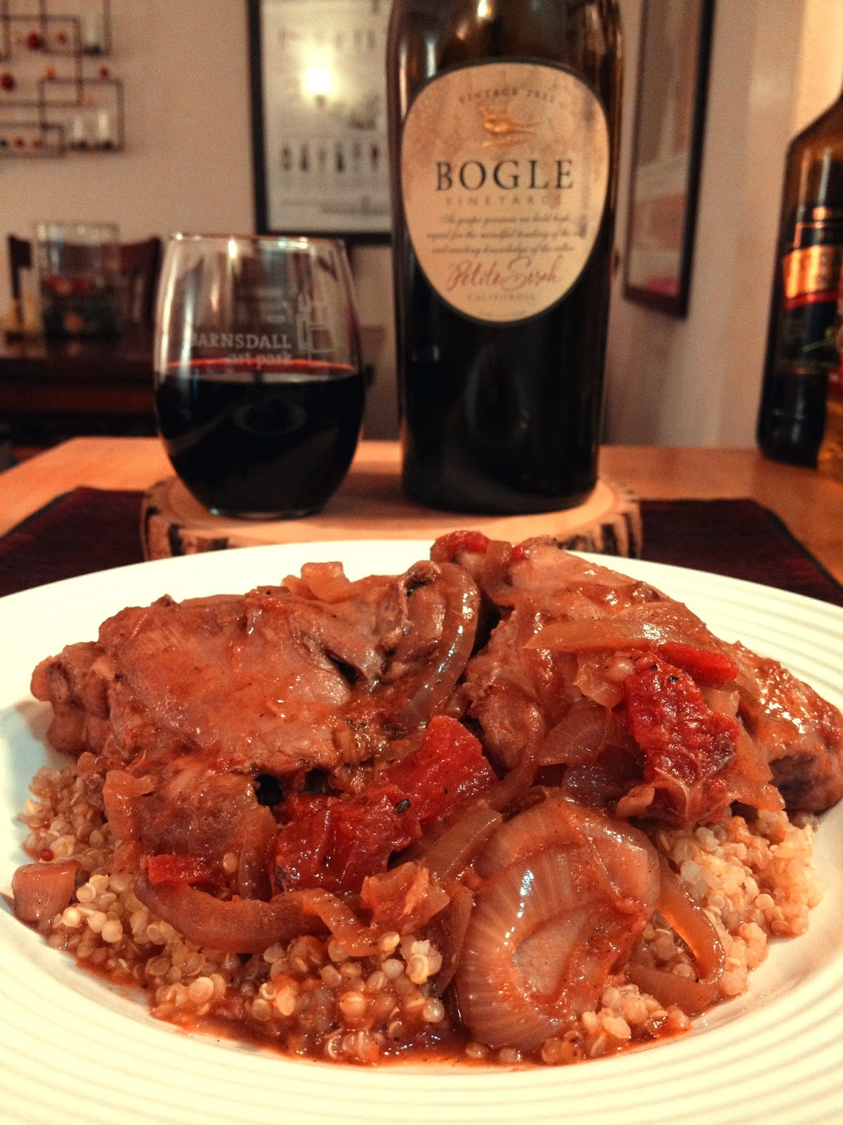 Chicken Braised With Red Wine Vinegar And Tomatoes Recipe — Dishmaps