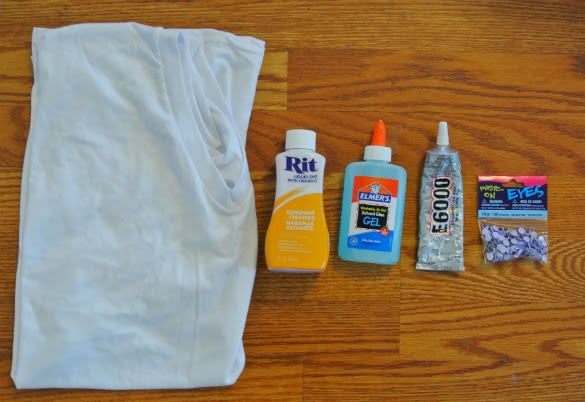 Supplies for creating a one of a kind festive Halloween Shirt