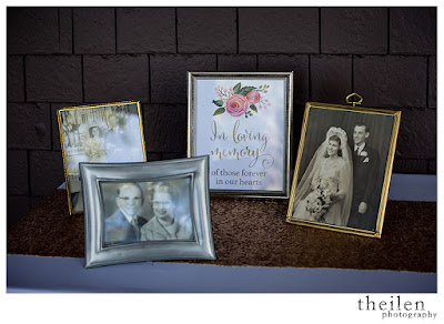 Family memorial table to remember those who cannot be present at the wedding l Theilen Photo l Take the Cake Event Planning