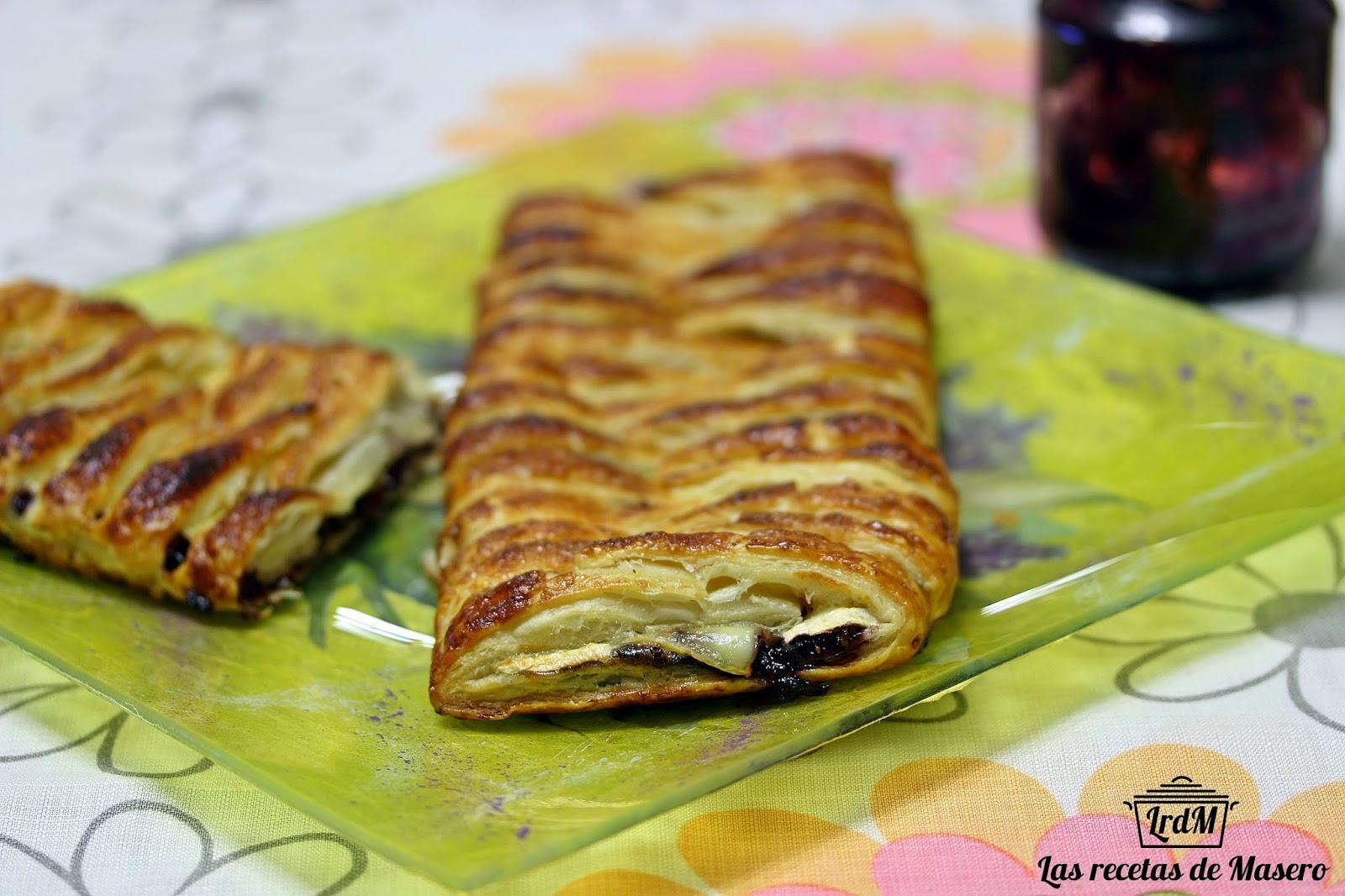 Trenza de hojaldre con queso brie y mermelada de moras