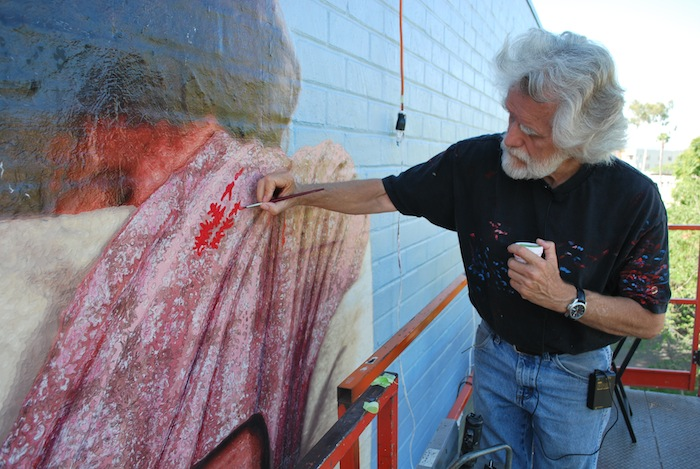 Restoration of paintings and art conservation in our lab for Biola jesus mural