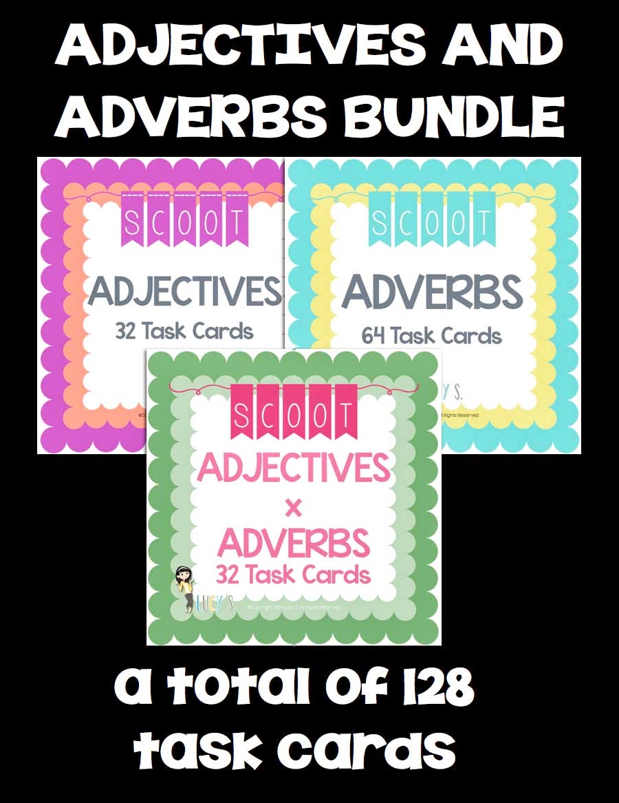 Adjectives Adverbs SCOOT Bundle - 128 task cards