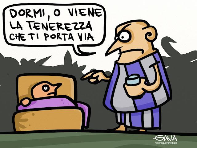 Gava vignette papa satira francesco fumetti disegno ridere pensare venezia paura dormire tenerezza roma notte letto buonanotte
