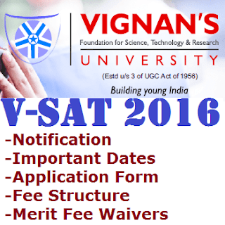 VSAT 2016 Vignan University B Tech Admission Test