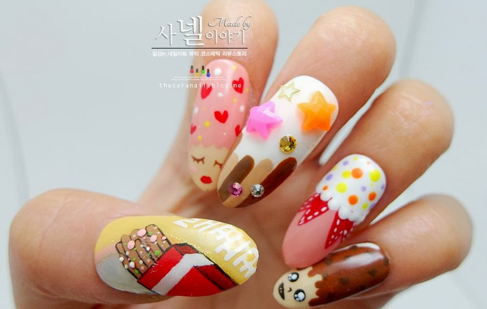 SARA NAIL: Korean snack nail arts, Pepero nail art