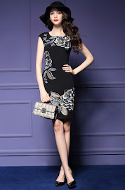 New 2016 Colorful Flowery Embroidery OL Black Dress