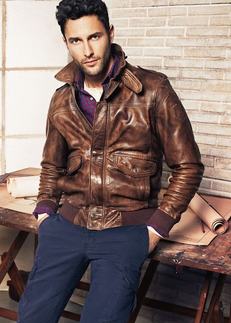 brown leather jacket, blue trousers, purple button up, spring, summer, fall, winter,