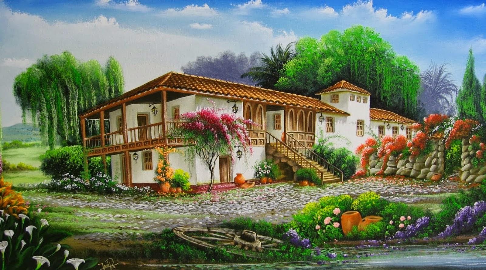 Pinturas que me gustan paisajes con mucho color y buganvillas - Paisajes de casas de campo ...
