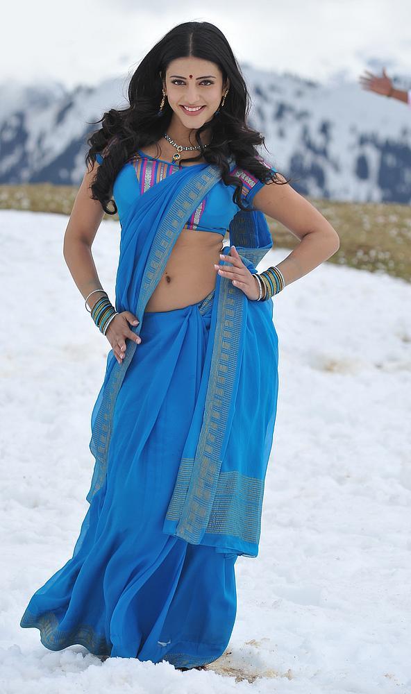 Actress Shruti Hassan Blue Saree Hot Stills Tamil Acress