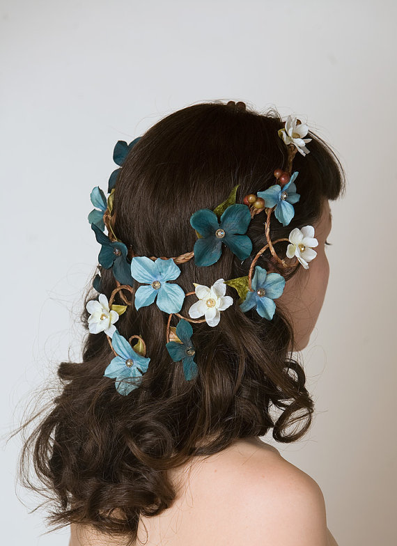 Something Blue Wedding Ideas - Floral Crown Head Piece - Cascading Veil of Turquoise Blue & Aqua Flowers - Woodland Wedding Wreath, Forest Nymph Circlet