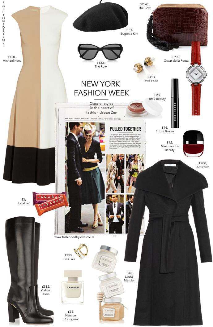 NYFW inspired outfit | Michael Kors | Altuzarra | Calvin Klein | The Row | Marc Jacobs | Narciso Rodriguez | RMS Beauty | Bobbi Brown | Laura Mercier | Oscar de la Renta | Eugenia Kim