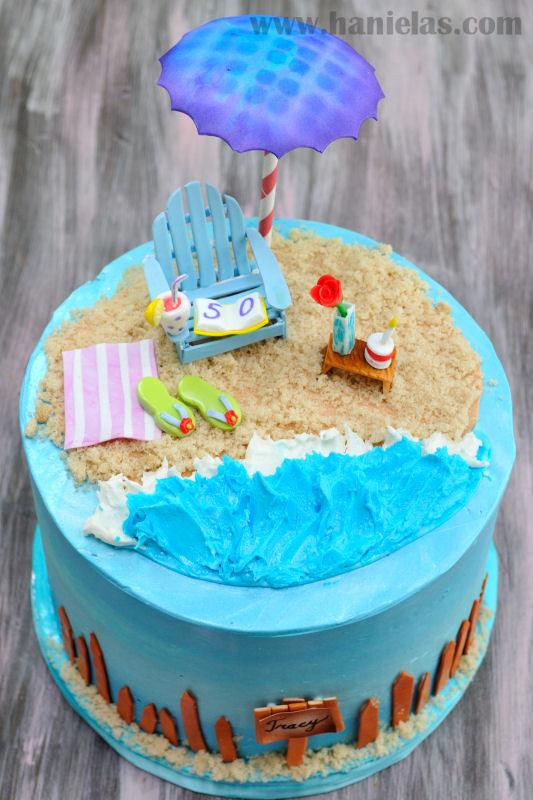 Haniela S Beach Cake With Gumpaste Adirondack Chair