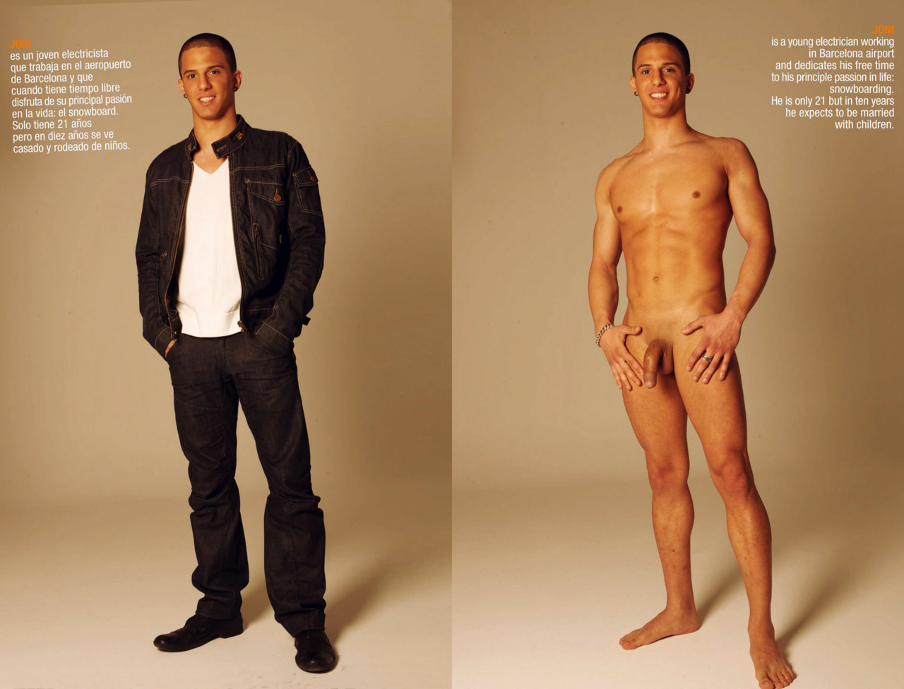 Clothed fmale naked male