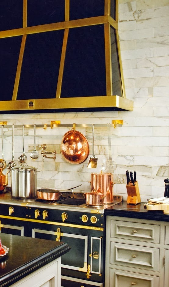 Tiffany leigh interior design kitchens black white and gold for Black and gold kitchen
