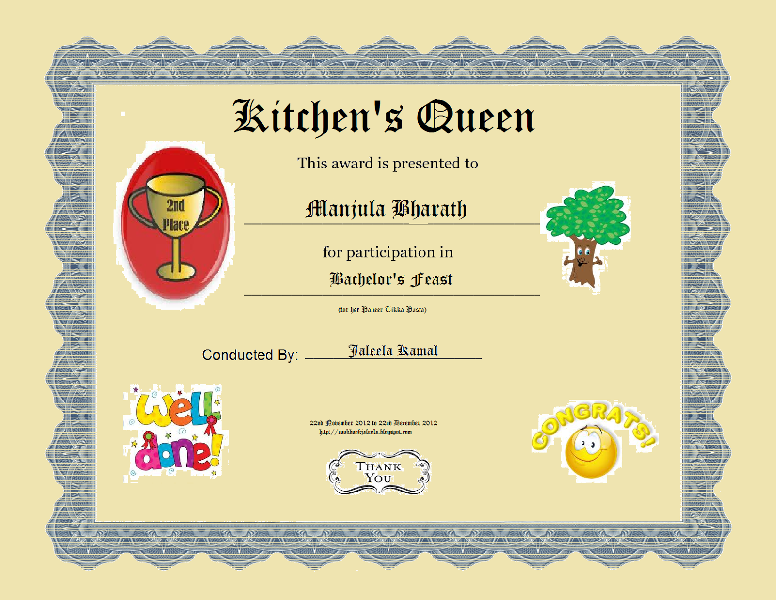 chili award certificate template - unwrapping my first giveaway award desi fiesta