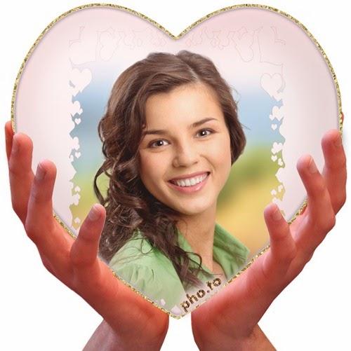 Montagem de fotos Coração nas mãos