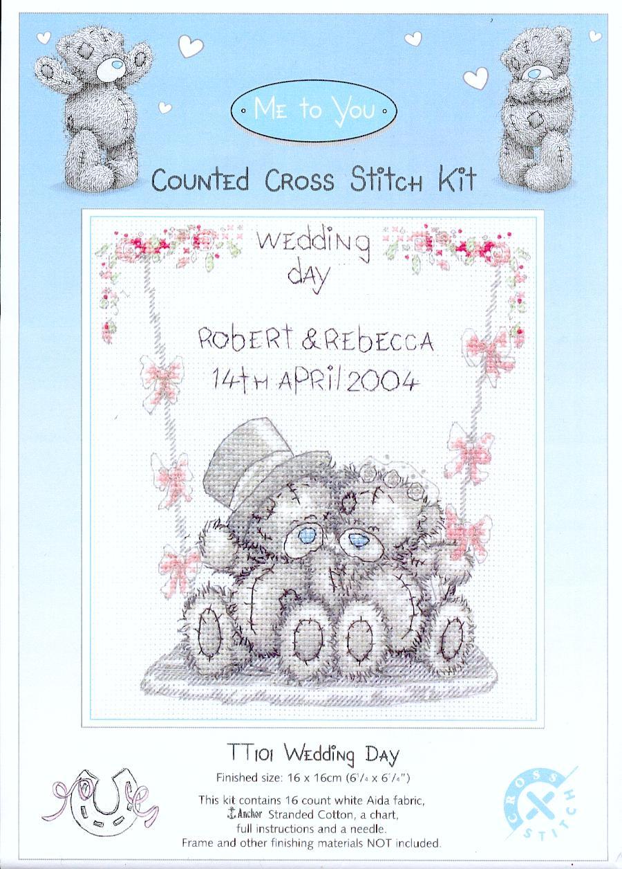 Схема вышивки крестом мишки свадебная