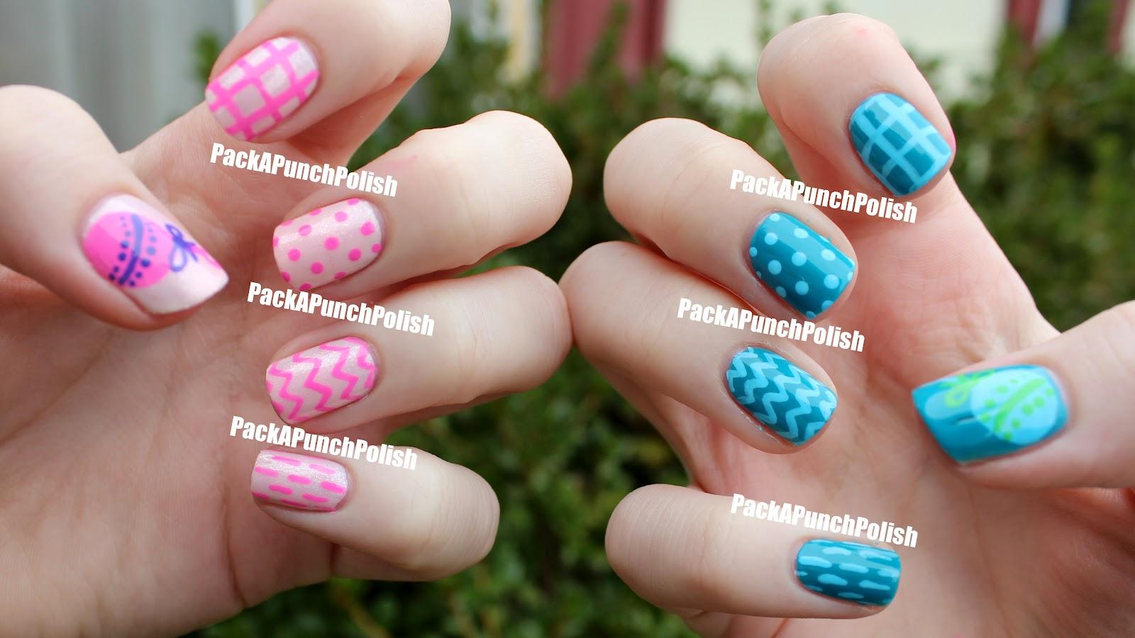 packapunchpolish simple baby shower nail art