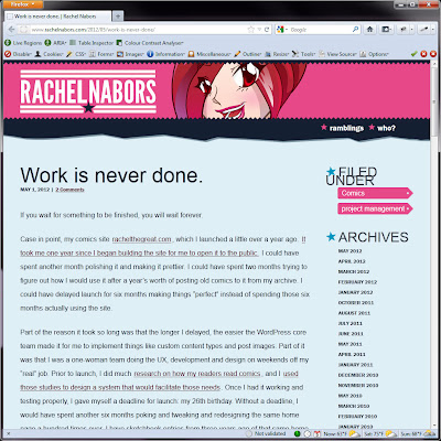 Screen shot of http://www.rachelnabors.com/2012/05/work-is-never-done/.