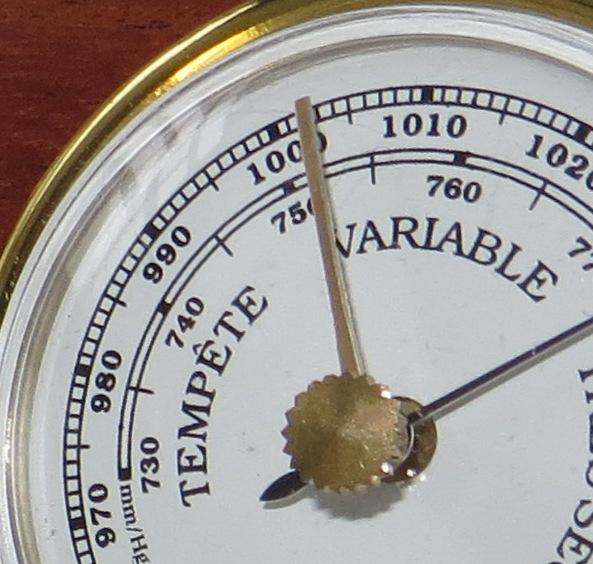 Fotografia Macro de pormenor do higrómetro. Ampliação da foto acima