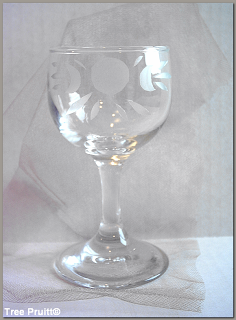  Triple Goddess Symbol Etched Vintage Glass Wicca Altar Chalice Cup by Tree Pruitt