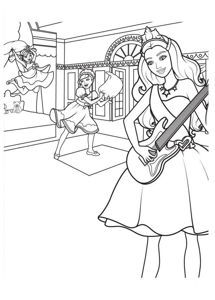 Barbie principessa rock disegni da colorare - Barbie princesse coloriage ...
