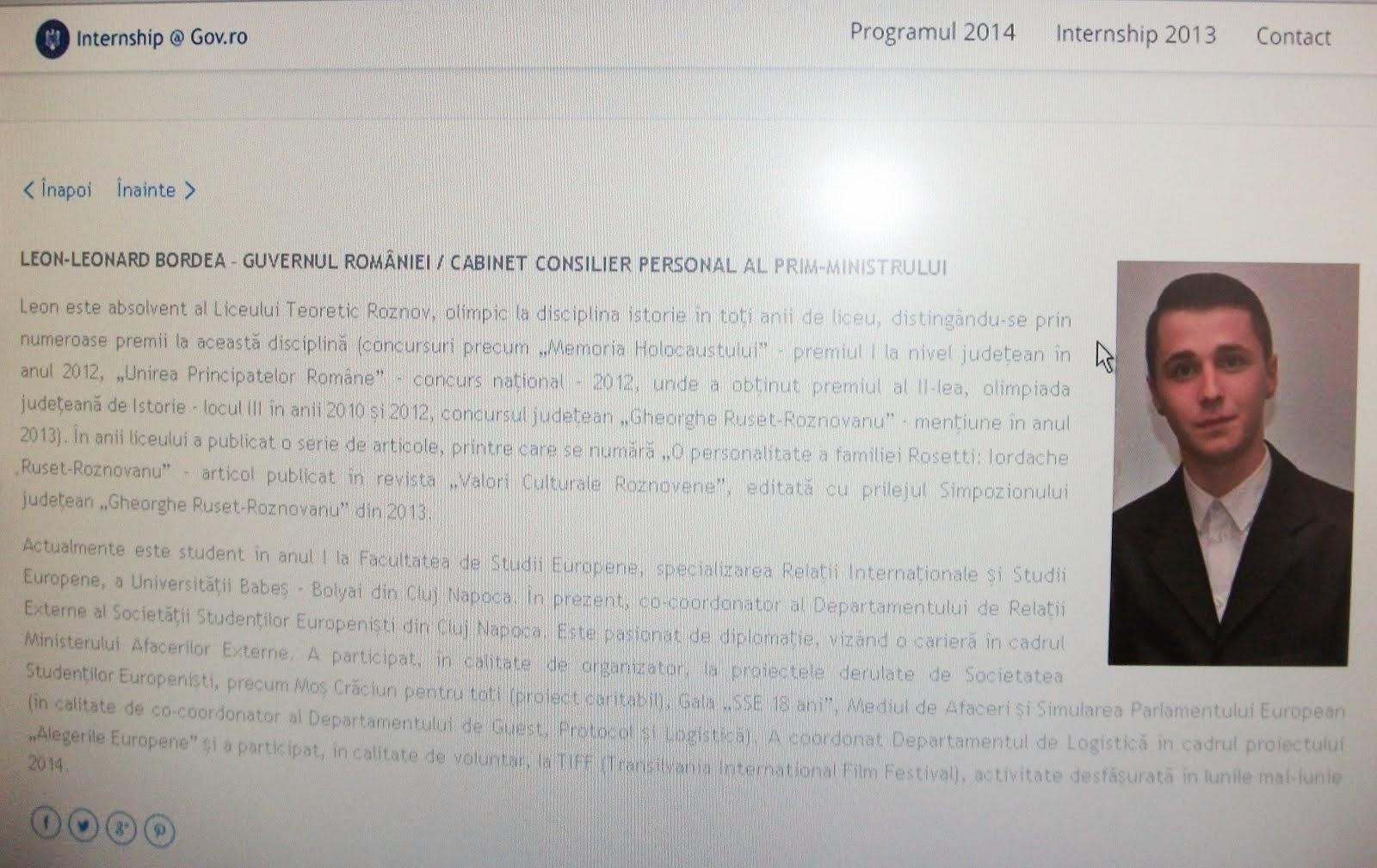 Leon Bordea, pe pagina oficială a consilierilor- stagiari la Guvernul României - 2014