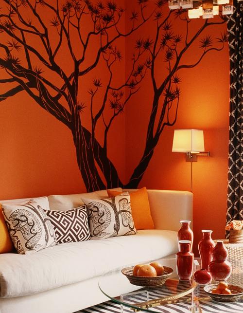 Soggiorno Colore Arancione: Soggiorno con divano arancione letto e ...
