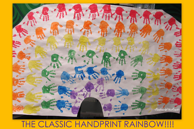 Handprint rainbow, kindergarten Art, children's handprints,