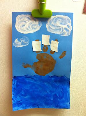 Thanksgiving craft ideas for toddlers and kids: handprint Christpoher Columbus  art www.thebrighterwriter.blogspot.com
