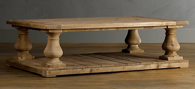 Cat chic restoration hardware balustrade salvaged wood coffee table