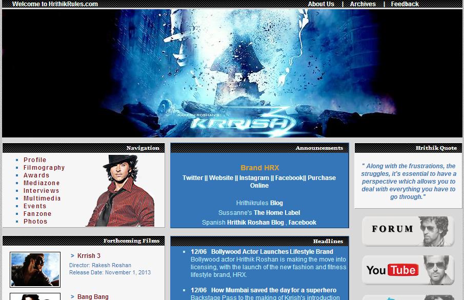Website of Hrithik Roshan