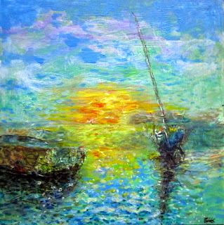 seascape, sunset, Cornwall, sea painting, sky painting, impressionisht seascape, art for sale,