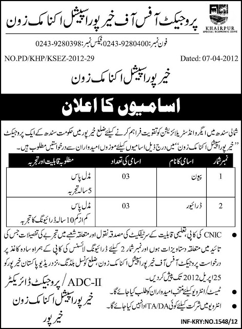 Khairpur Special Economic Zone, Govt of Sindh Jobs